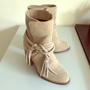 Women's tan suede booties